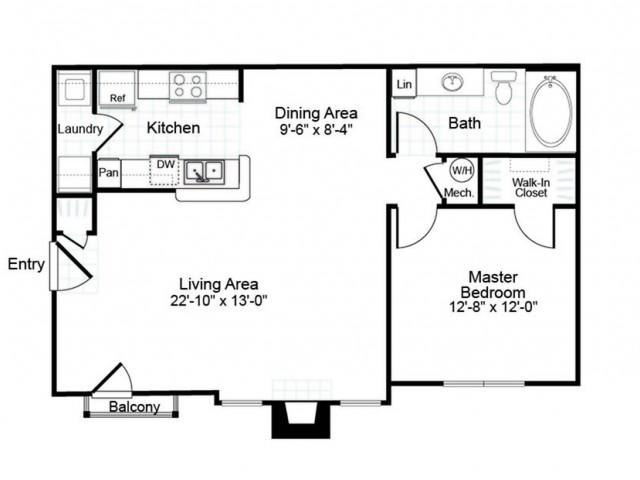 A2 1 bedroom 1 bathroom floorplan at Colton Creek Apartments in McDonough, GA
