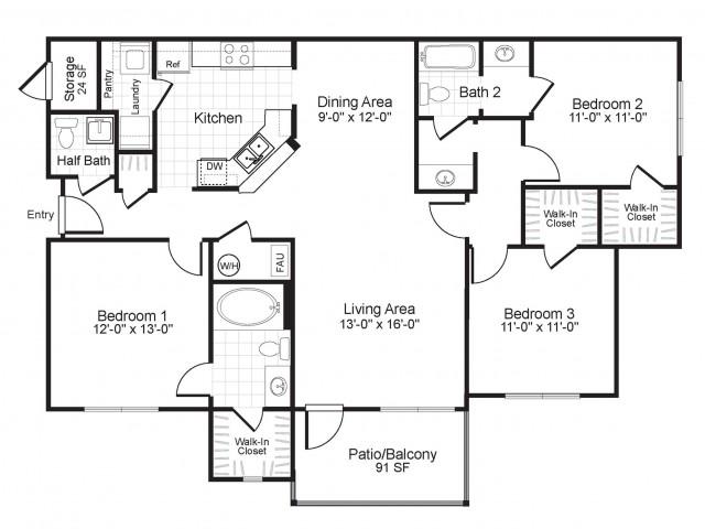 C1 3 bedroom 2 bathroom floorplan at Colton Creek Apartments in McDonough, GA