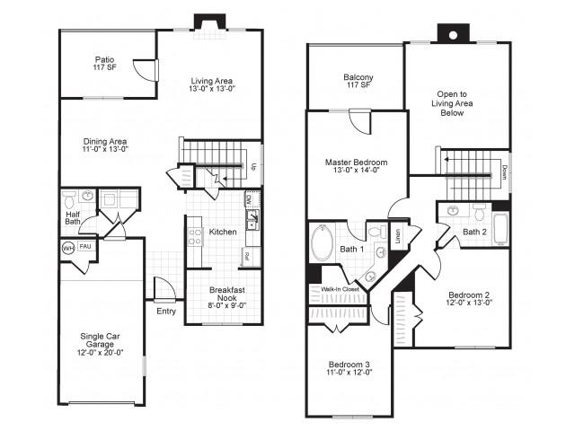 C2TH 3 bedroom 2 bathroom floorplan at Colton Creek Apartments in McDonough, GA