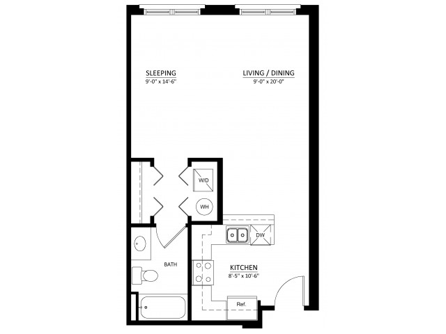 Studio with one bathroom S1 Floorplan at Dwell Vienna Metro Apartments in Fairfax, VA