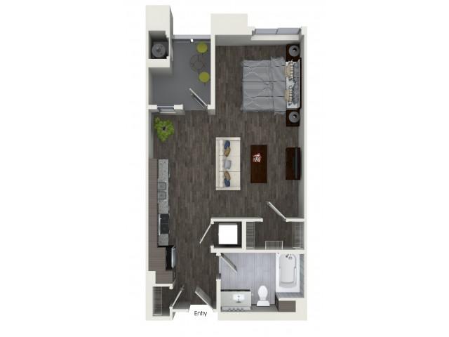 S1 Studio One Bath Floorplan at Areum Apartments in Monrovia CA