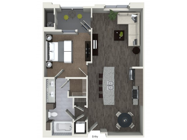 A3.3 One Bedroom One Bath Floorplan at Areum Apartments in Monrovia CA
