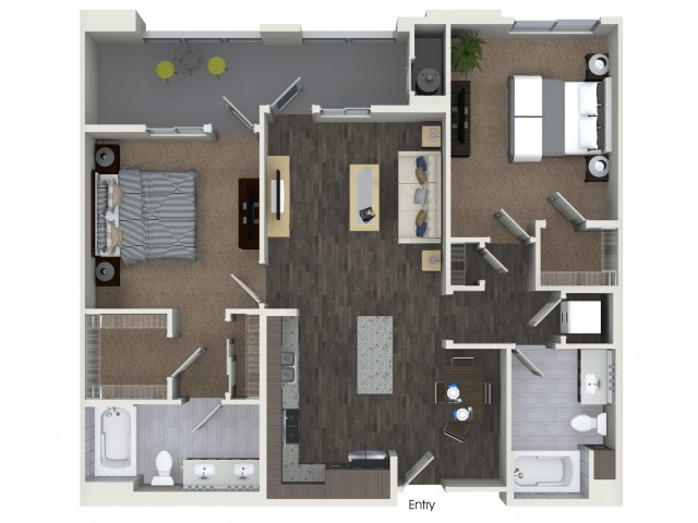 B2.3 Two Bedroom Two Bath Floorplan at Areum Apartments in Monrovia CA