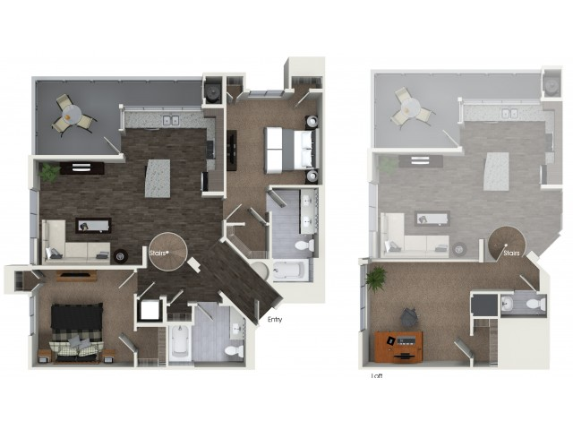 B4 Two Bedroom Two and Half Bath Floorplan at Areum Apartments in Monrovia CA
