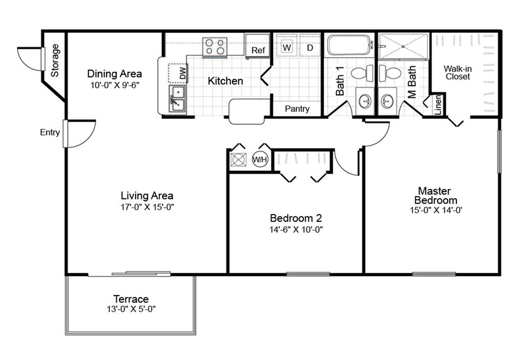 2 bedroom 2 bathroom B1 floorplan at Hidden Harbor Apartments in Royal Palm Beach, FL