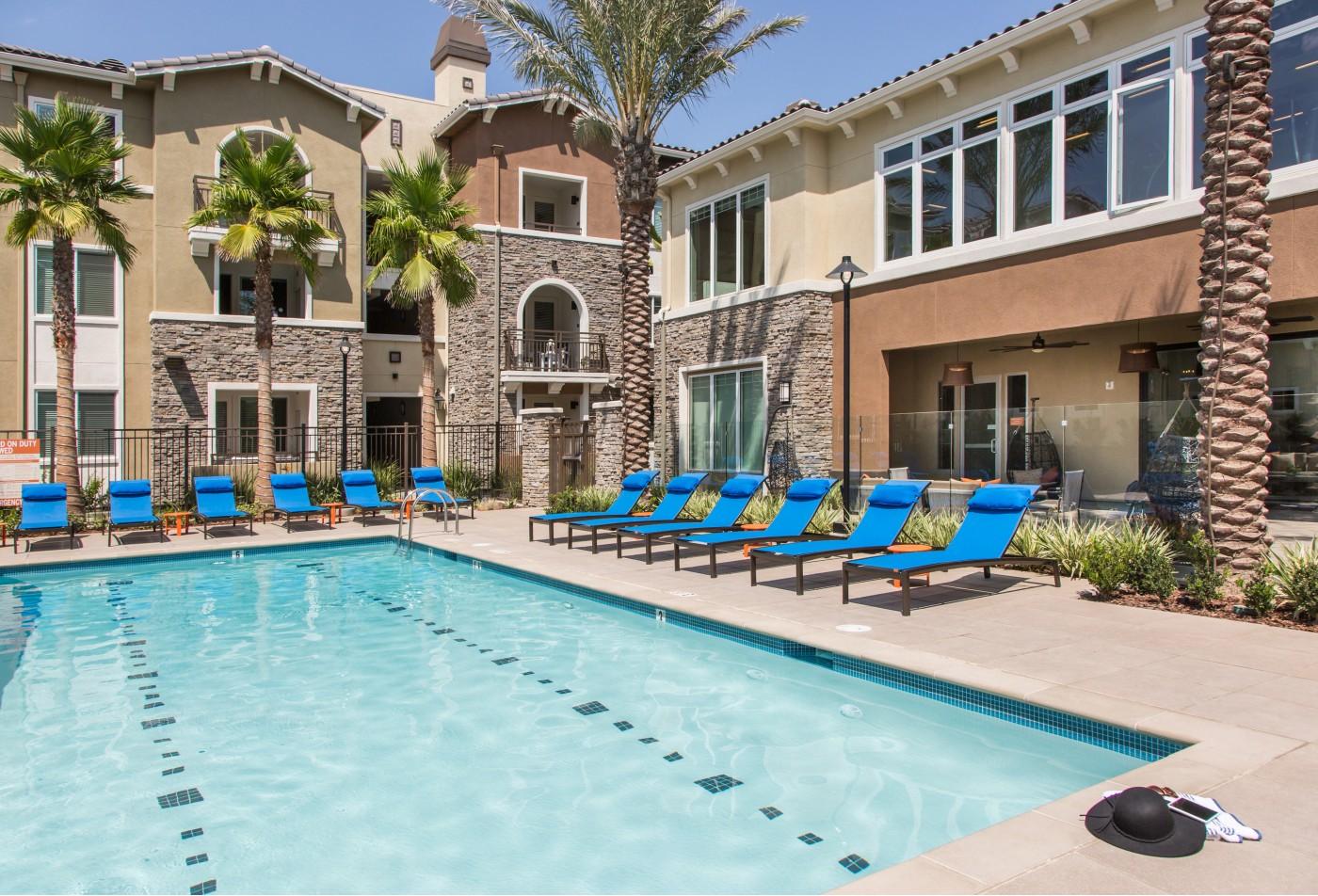 Pool at Valentia Apartment Homes in La Habra, CA
