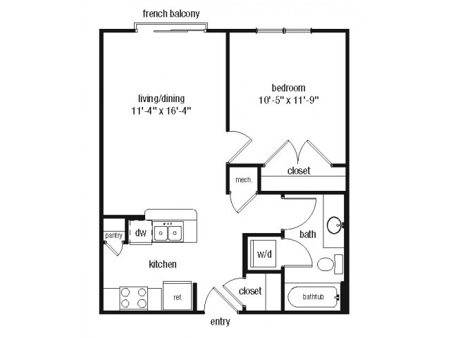 Studio one bathroom S1 floorplan at The Alexander at Ghent Apartment Homes in Norfolk, VA