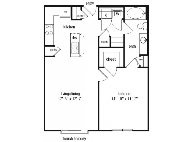 One bedroom one bathroom A2 floorplan at The Alexander at Ghent Apartment Homes in Norfolk, VA