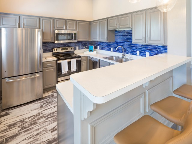 Newly renovated community kitchen at The Belvedere Apartments in Richmond, VA