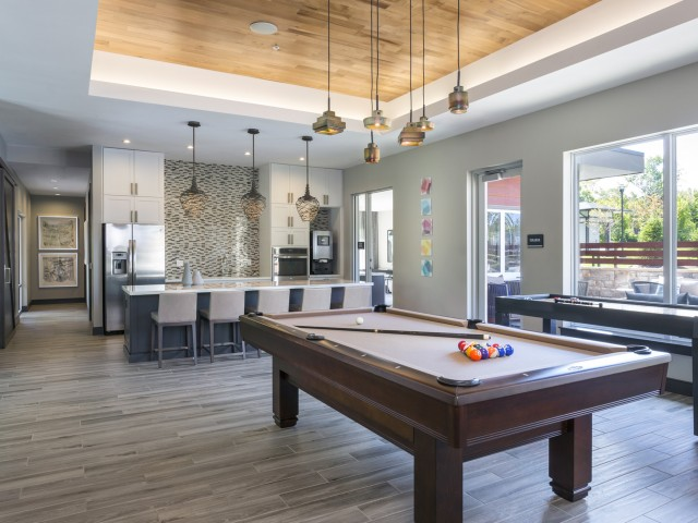 Image of Social lounge: resident clubroom with full kitchen & billiards for Talia Apartments