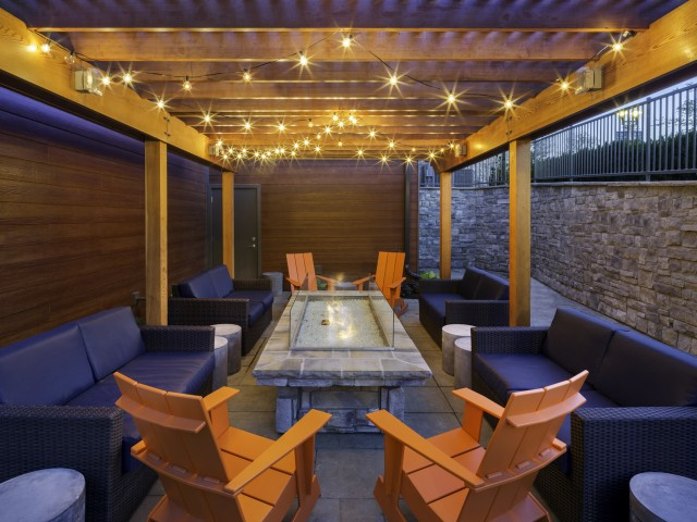 Image of Veranda: courtyard with fire table for Talia Apartments