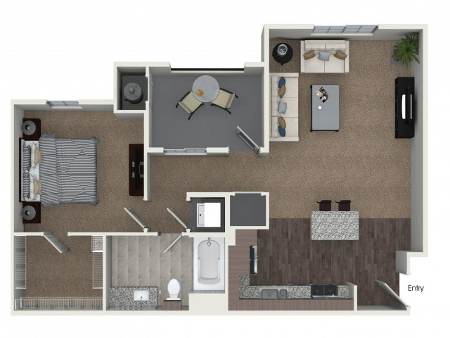 1 bedroom 1 bathroom A3 floorplan at Andorra Apartments in Camarillo, CA