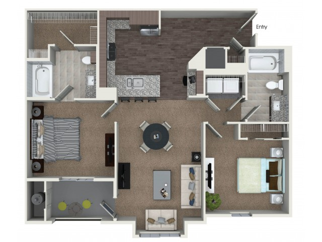 2 bedrooms 2 bathrooms B5.1 floorplan at Andorra Apartments in Camarillo, CA