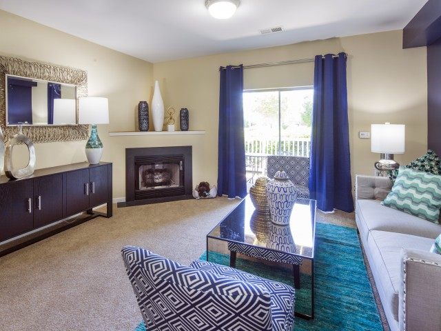 Living room at River Forest apartments in Chester, VA