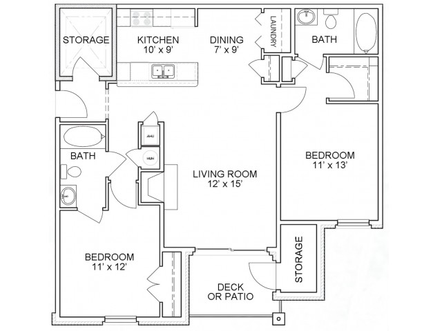 Two bedroom two bathroom B2 floorplan at The Belvedere Apartments in North Chesterfield, VA