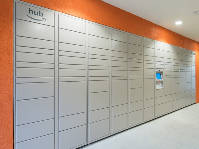 Package lockers at Valentia Apartments in La Habra, CA