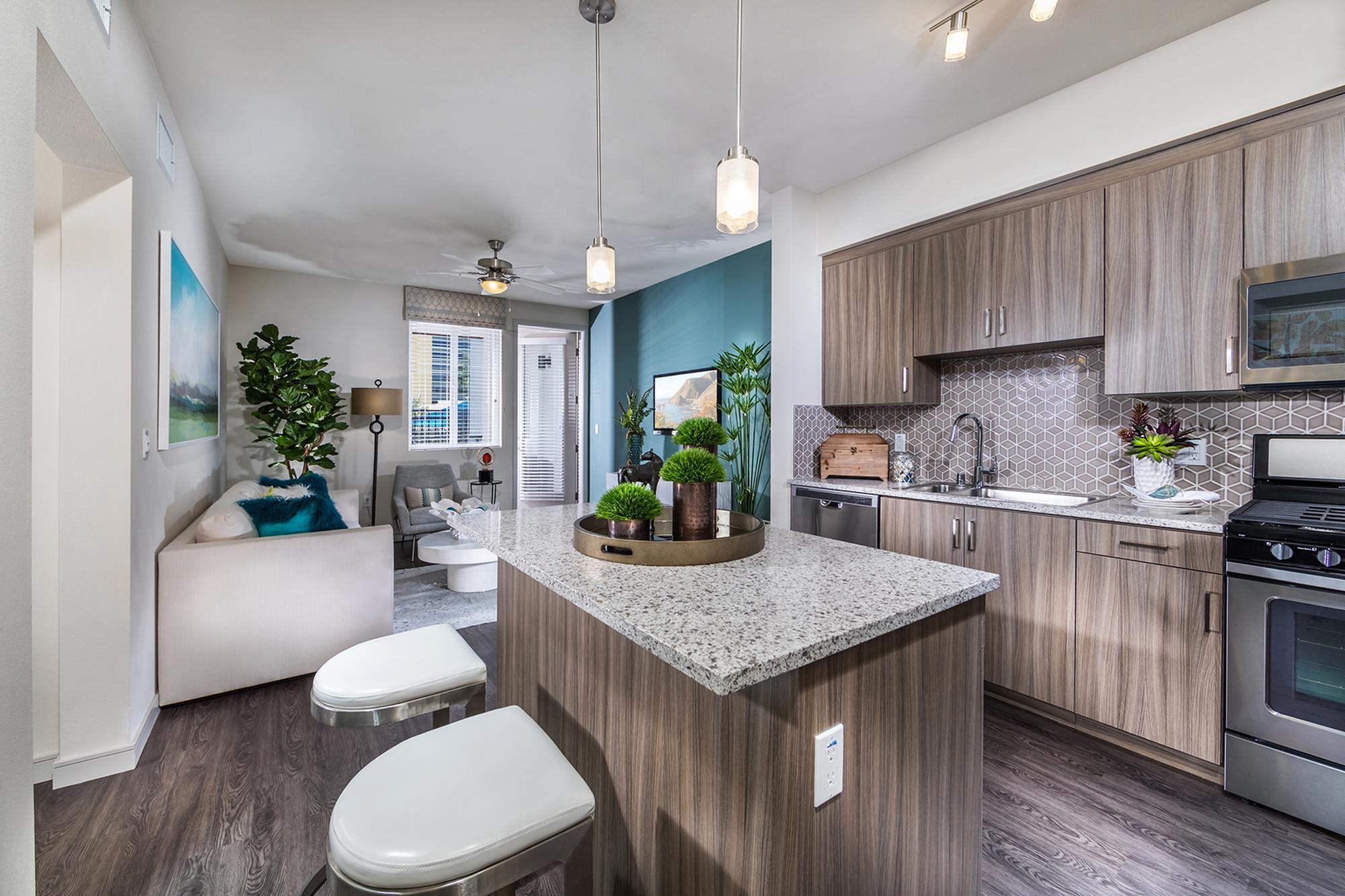 Kitchen island at Areum Apartments in Monrovia CA