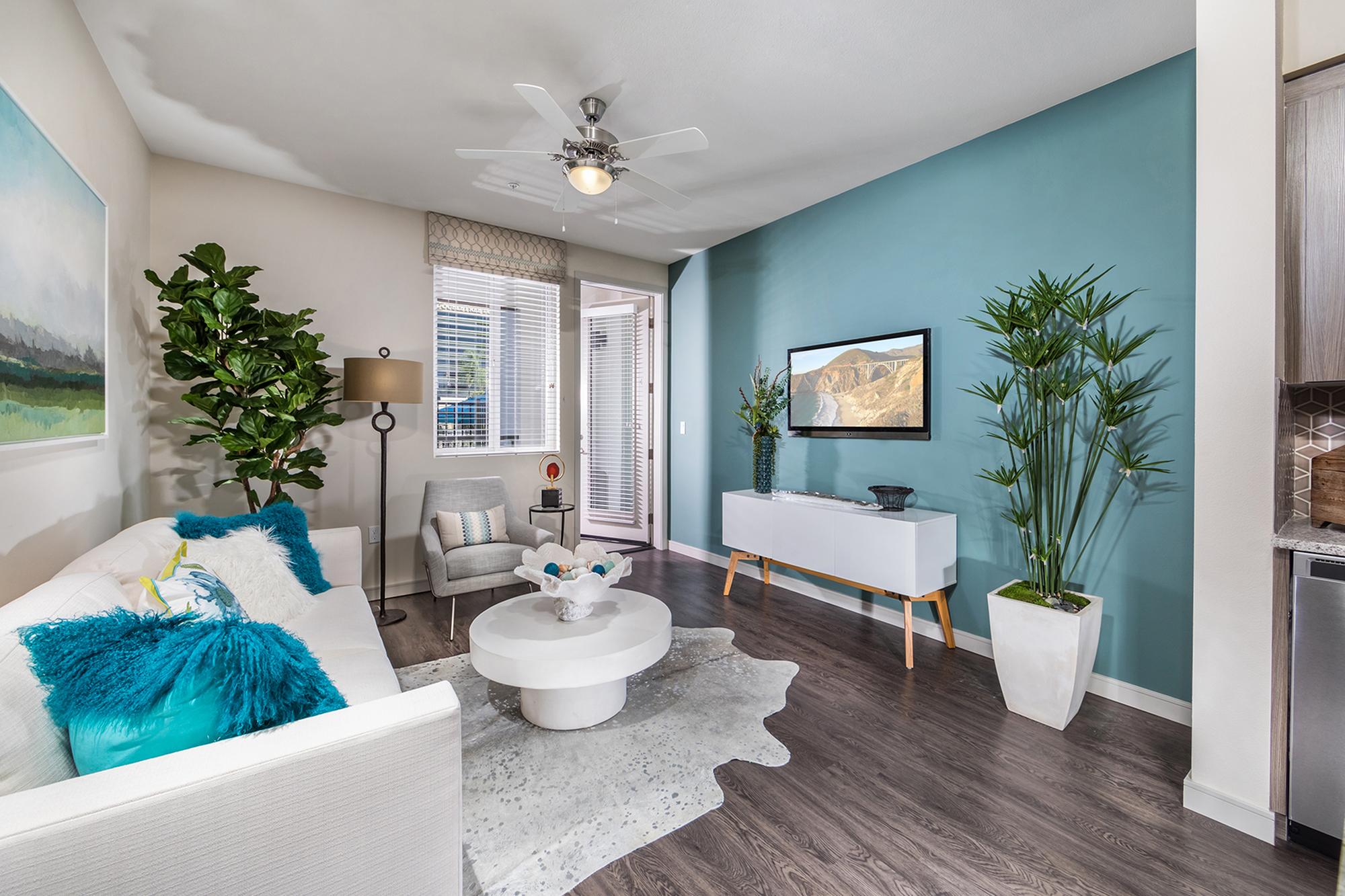 Living room at Areum Apartments in Monrovia CA
