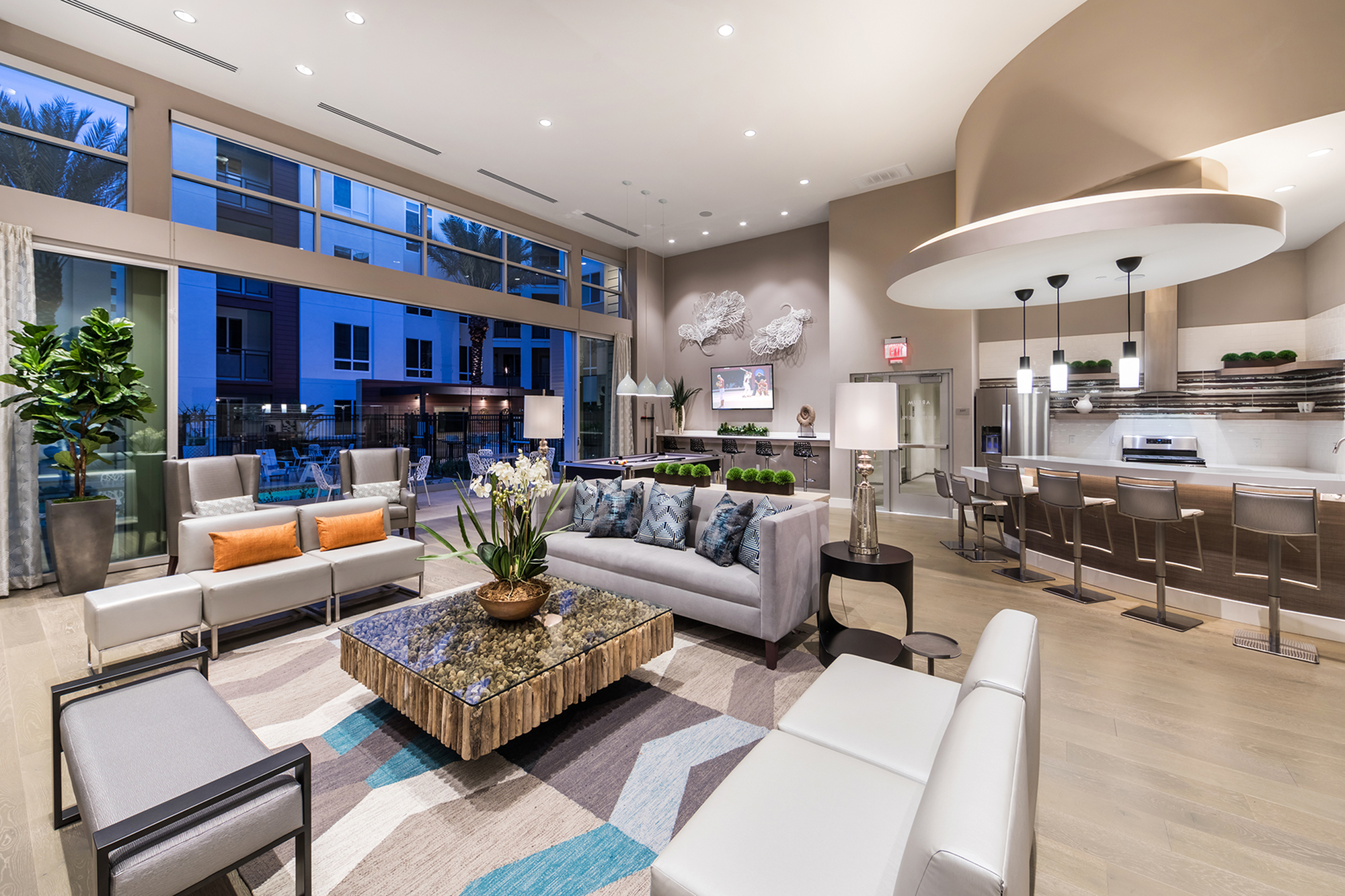 Social lounge seating area at Areum Apartments in Monrovia CA