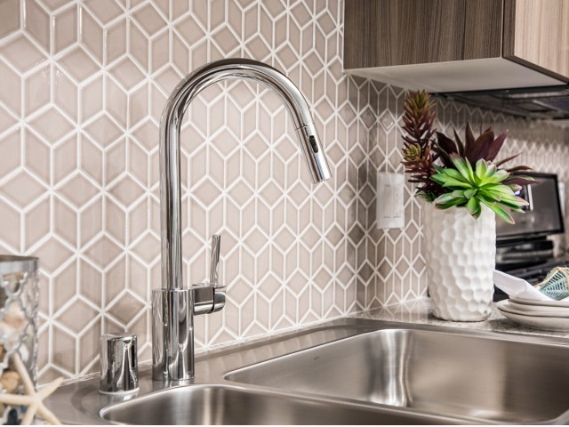 Kitchen backsplash at Areum Apartments in Monrovia CA