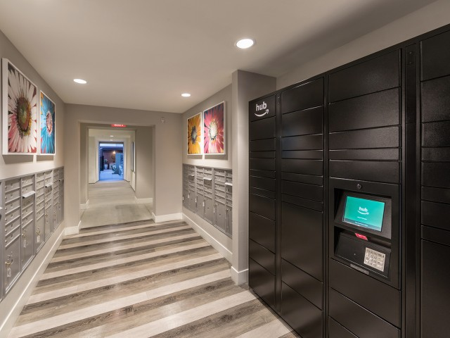 Hub by Amazon package lockers at Areum Apartments in Monrovia CA