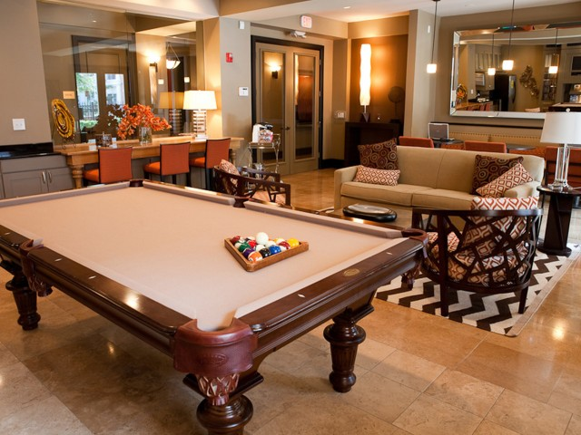 Billiards table in Clubhouse at The Alexander at Ghent Apartment Homes in Norfolk, VA