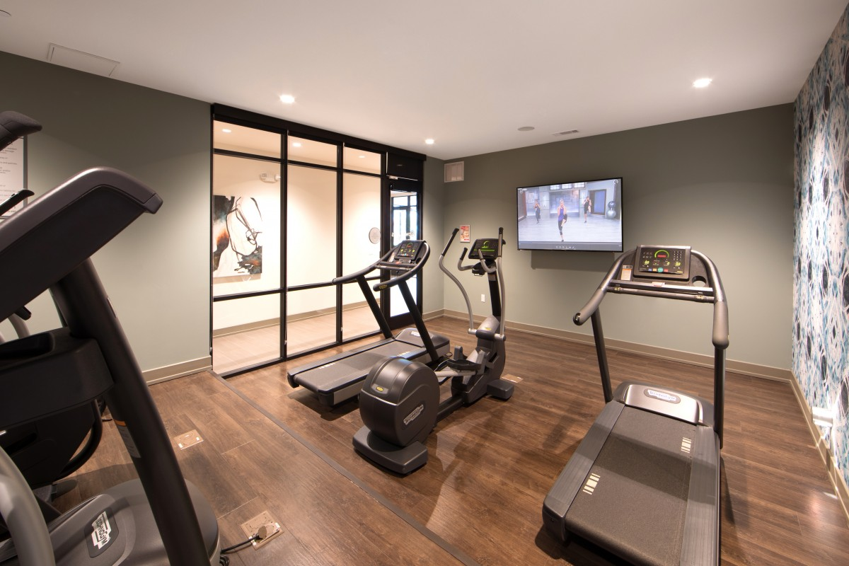 Cardio room at Inwood Station apartments in Dallas TX