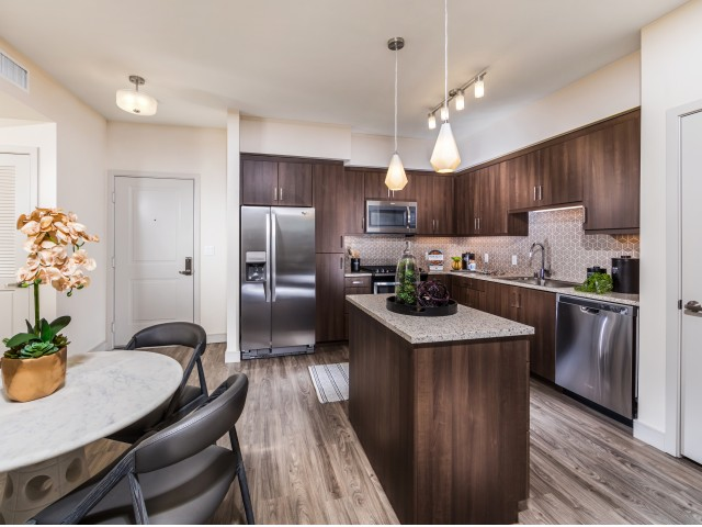 Kitchen at RIZE Irvine apartments in Irvine, CA