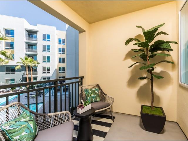 Private balcony at RIZE Irvine apartments in Irvine, CA