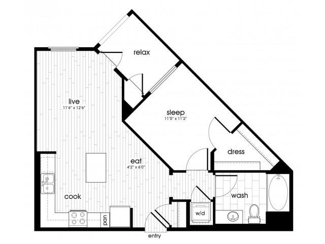 A1 Floorplan at Vela on Ox Apartments in Woodland Hills, C1