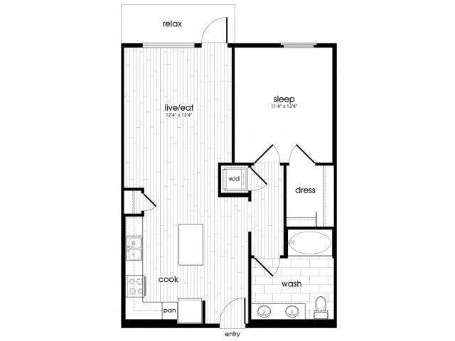 A3 Floorplan at Vela on Ox Apartments in Woodland Hills, CA