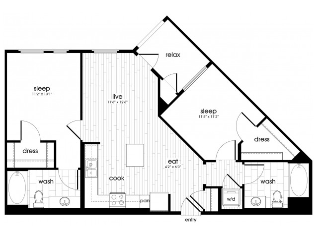 B1 Floorplan at Vela on Ox Apartments in Woodland Hills, CA