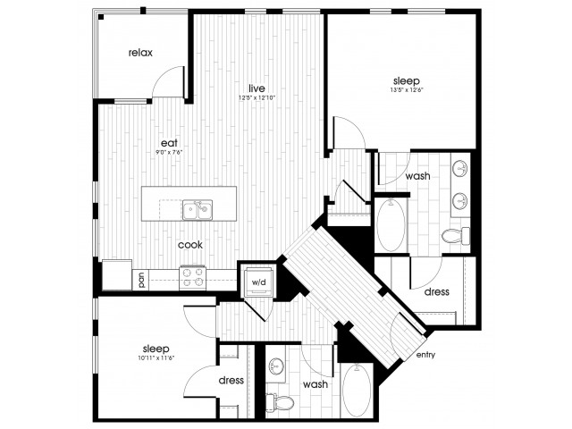 B4 Floorplan at Vela on Ox Apartments in Woodland Hills, CA