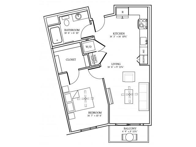 A2 Floorplan at Aliso Apartments in Los Angeles, CA