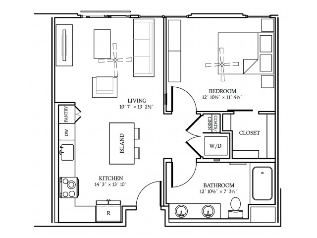 A3 Floorplan at Aliso Apartments in Los Angeles, CA