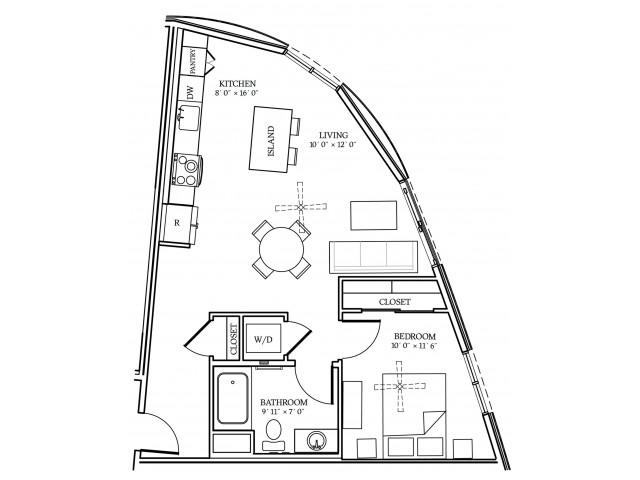 A4 Floorplan at Aliso Apartments in Los Angeles, CA