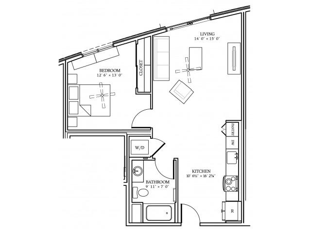 A5 Floorplan at Aliso Apartments in Los Angeles, CA