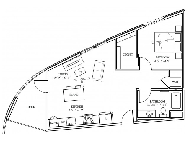 A6 Floorplan at Aliso Apartments in Los Angeles, CA