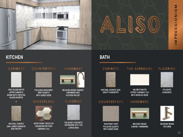Impressionism design package finish board at Aliso Apartments in Los Angeles CA