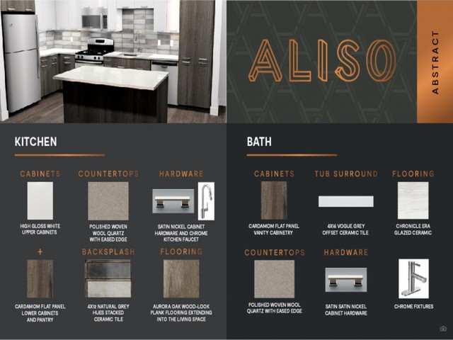 Abstract design package finish board at Aliso Apartments in Los Angeles CA