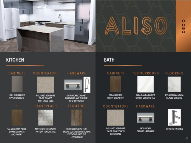 Deco design package finish board at Aliso Apartments in Los Angeles CA