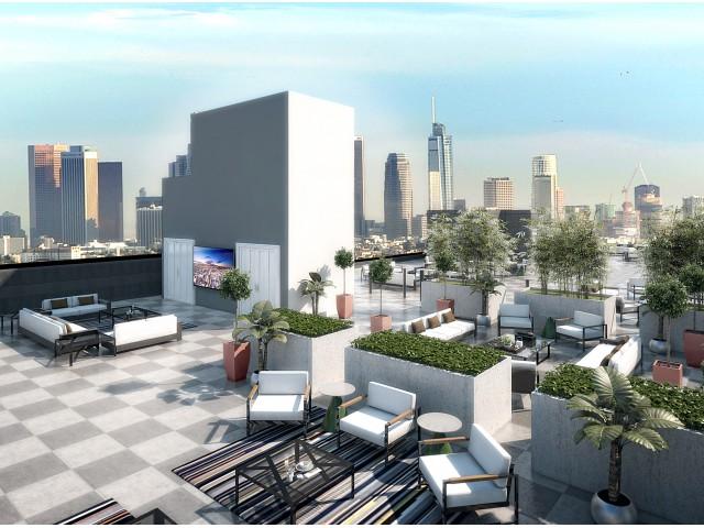 Rooftop patio at Aliso Apartments in Los Angeles CA