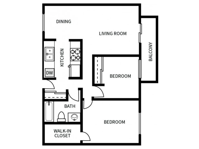 B2 Floorplan for Bayside Apartments in Pinole, CA