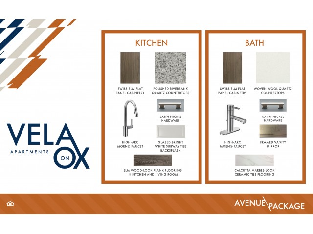Avenue design package finish board at Vela on OX Apartments in Woodland Hills, CA