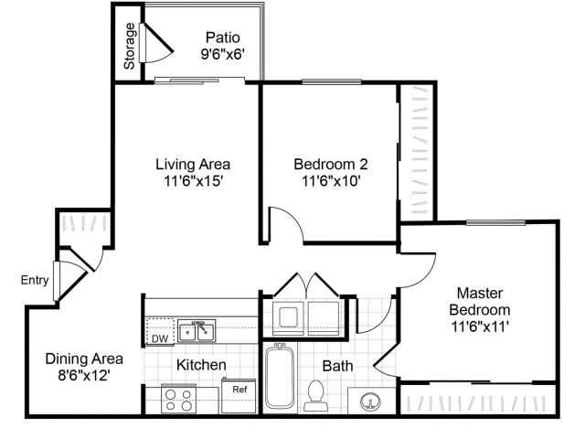 B1 2 bedroom 1 bathroom floorplan at Valley Trails Apartments in Irving, TX