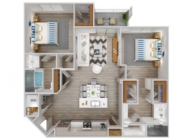 B3 Floorplan for South Beach Apartments in Las Vegas, NV