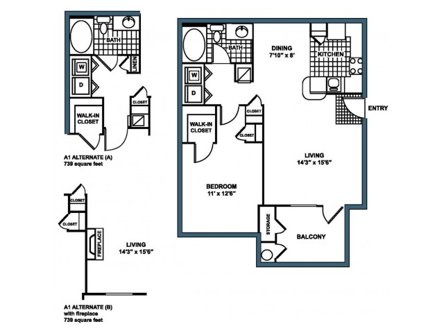 A1 Floorplan at Heritage on the Merrimack Apartments in Bedford NH