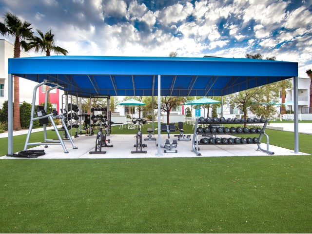Outdoor gym at South Beach apartments in Las Vegas, NV