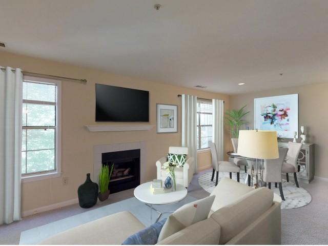 Living room at Adler at Waters Landing in Germantown MD