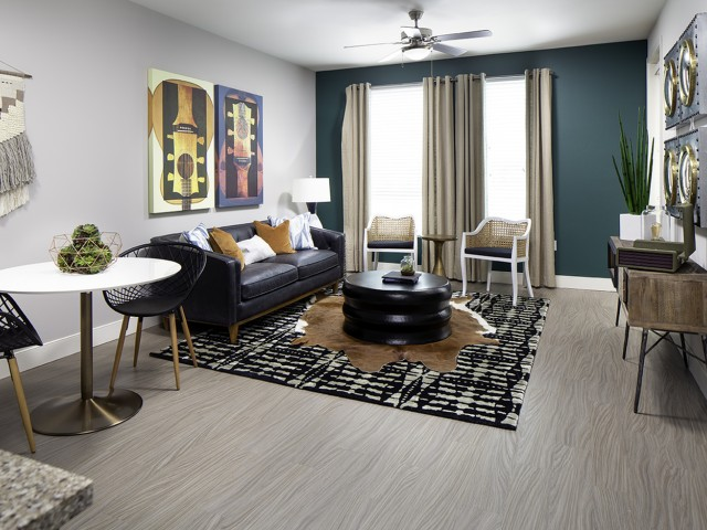 Living room at Vela on OX Apartments in Woodland Hills CA